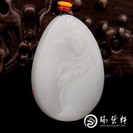 穆宇静 新疆和田玉洒金皮羊脂白玉籽玉玉牌 观音 28克