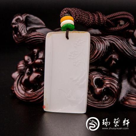 新疆和田玉洒金皮羊脂白玉籽玉挂件 垂钓 8.5克