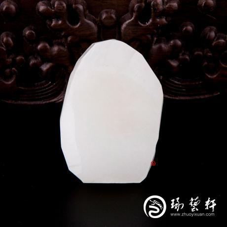 新疆和田白皮羊脂白玉籽玉原料 52克