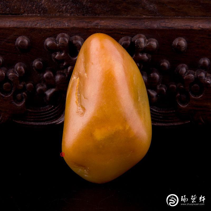 【琢艺轩】新疆和田玉黄沁白玉籽玉 原石 68.7克