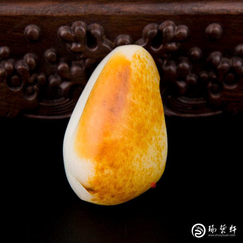【琢艺轩】新疆和田玉黄皮白玉籽玉 原石 129克