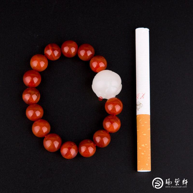 【琢藝軒】新疆和田玉羊脂白玉籽玉手串 蓮花 29克