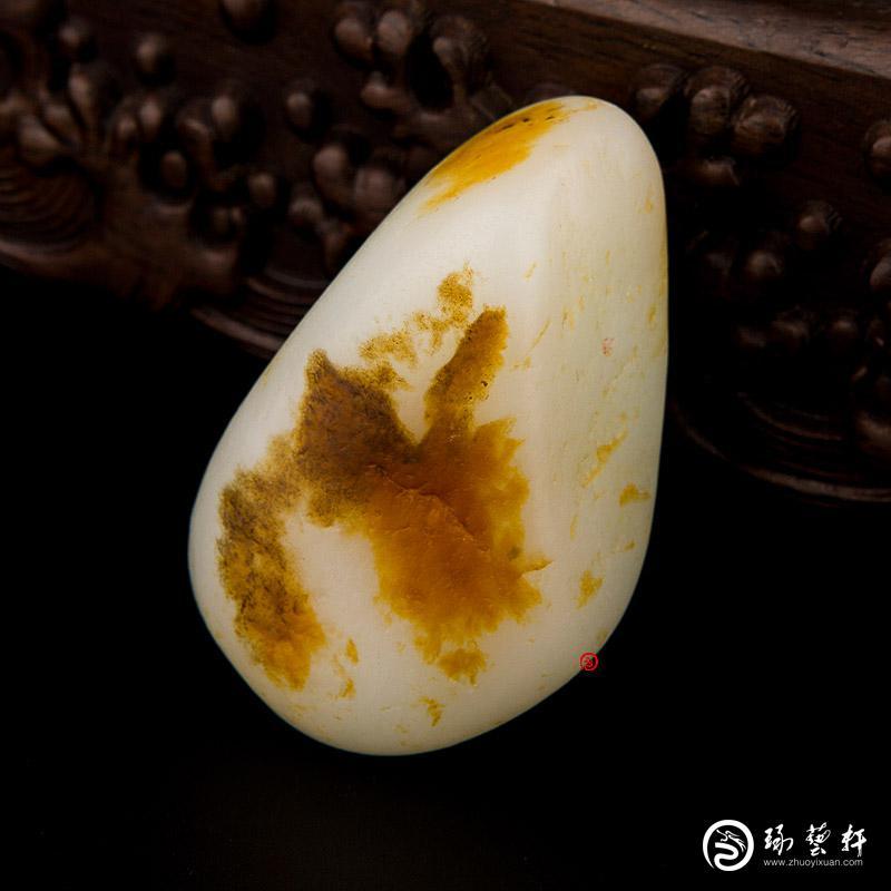 【琢藝軒】新疆和田玉紅皮白玉籽玉 原石 90克
