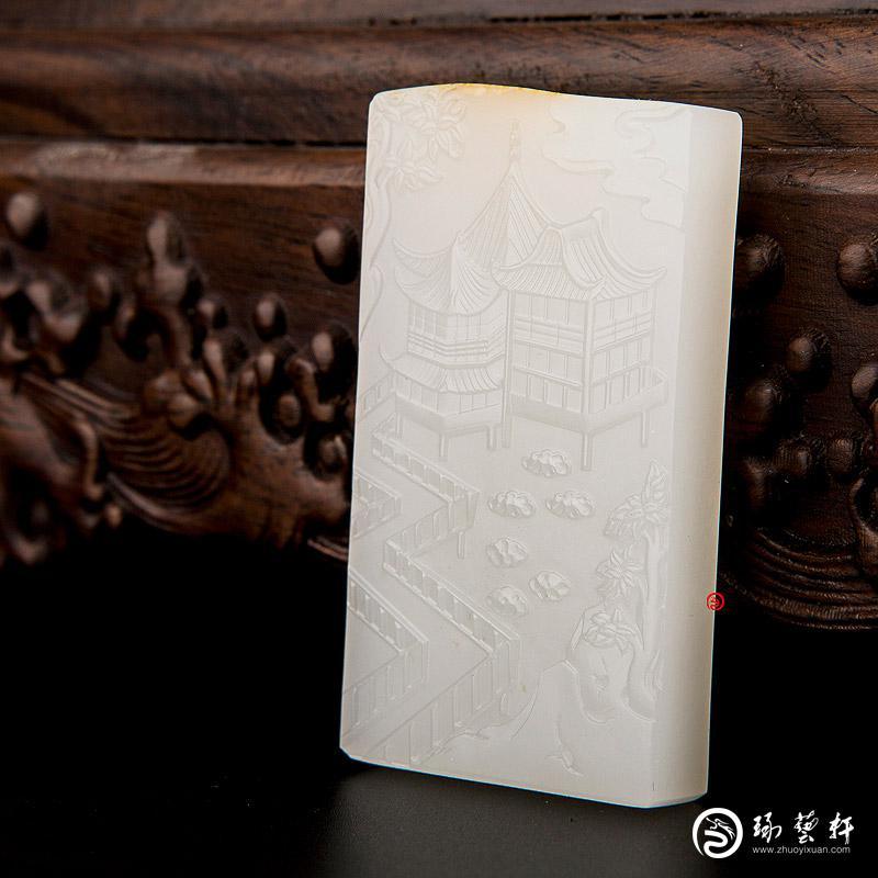 【琢艺轩】新疆和田黄皮一级白玉籽玉牌子 城隍庙 69.5克