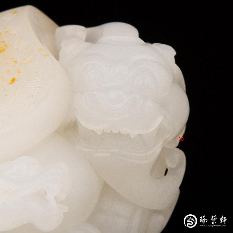 【琢艺轩】新疆和田黄皮羊脂白玉籽玉把件 玄武 95.5克