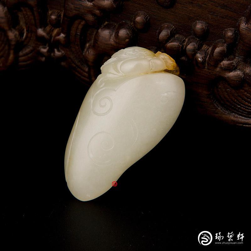 【琢艺轩】新疆和田红皮白玉籽玉挂件 安居乐业 26.4克