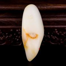 【琢艺轩】新疆和田洒金皮羊脂白玉籽玉 原料 298克