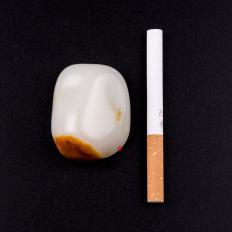 【琢艺轩】新疆和田玉红沁羊脂白玉籽玉 原石 64.8克