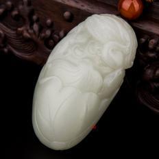 【琢艺轩】新疆和田玉黄皮白玉籽玉把件 一路连科 107克