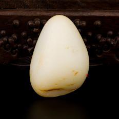 【琢艺轩】新疆和田玉黄皮一级白玉籽玉 原石 103克