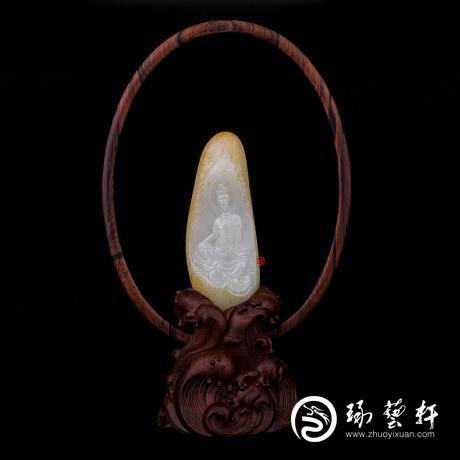 穆宇靜 新疆和田玉黃皮一級白玉籽玉擺件 水月觀音 227克