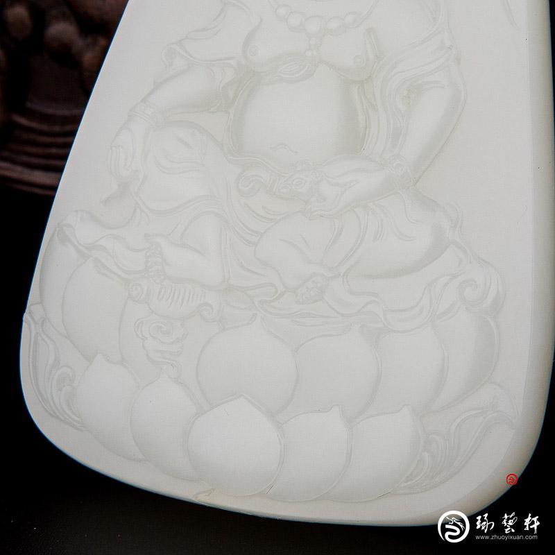 【琢艺轩】穆宇静 新疆和田玉洒金皮一级白籽玉玉牌 黄财神 66克