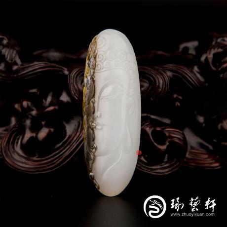 穆宇静 新疆和田黄黑双色皮羊脂白玉籽玉挂件 转念之间(独籽) 18克