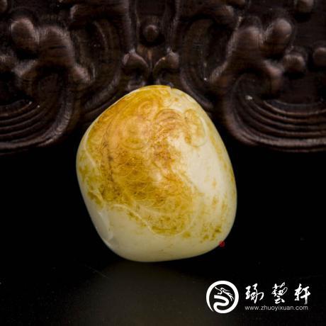 新疆和田红皮白玉籽玉挂件(独籽) 年年有余 24.4克