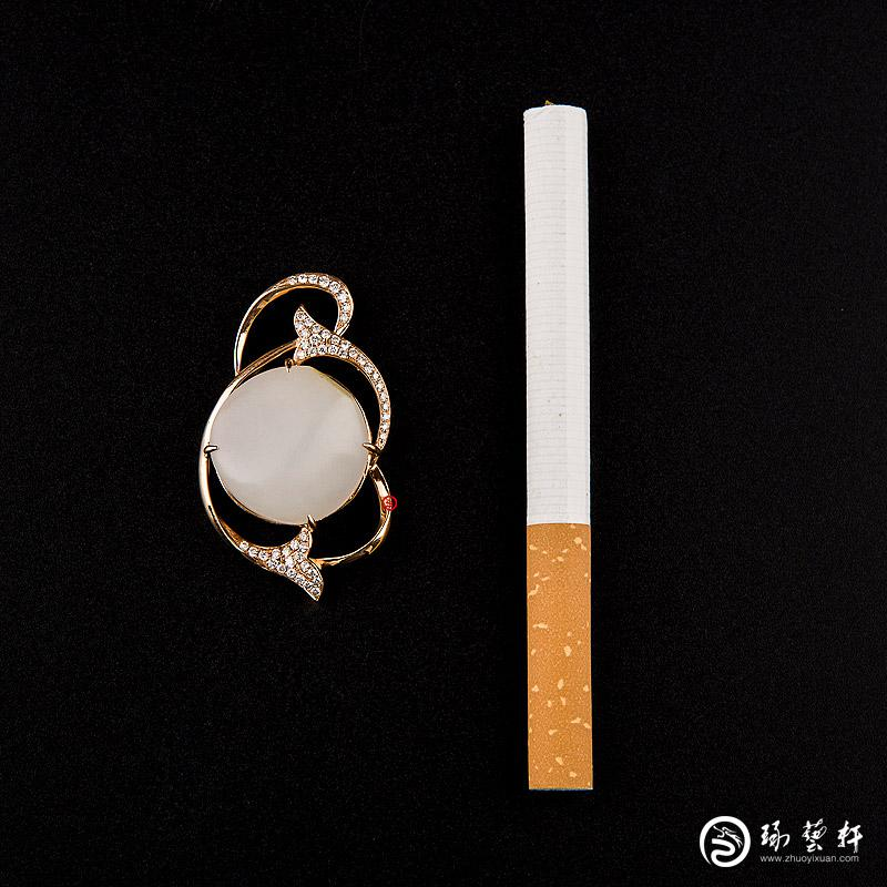 【琢艺轩】新疆和田玉羊脂白玉籽玉金镶玉挂件  璀璨明珠 8克