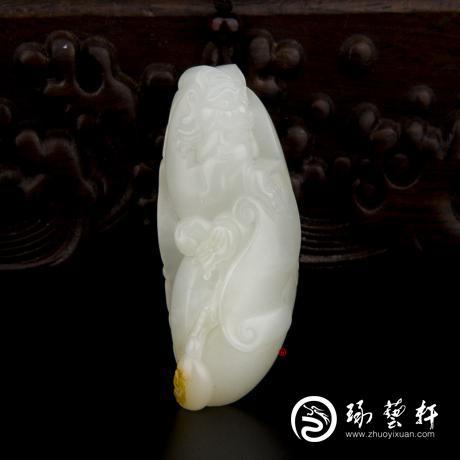 新疆和田玉黄皮白玉籽玉挂件 财神 26.9克