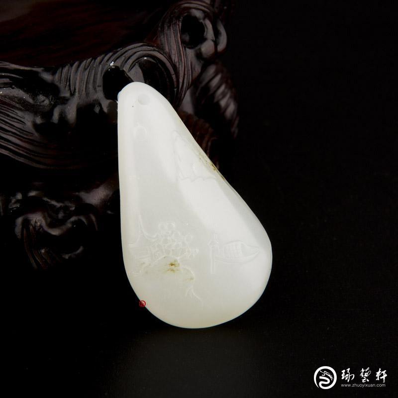 【琢艺轩】新疆和田玉白皮一级白玉籽玉挂件 枫桥夜泊 10.6克