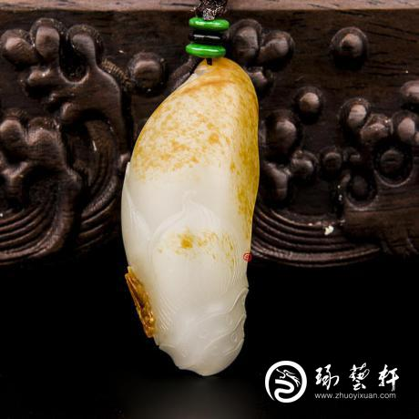 新疆和田玉红皮一级白玉籽玉挂件(独籽) 节节高 22.2克