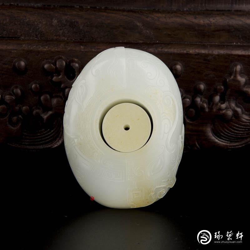 【琢艺轩】穆宇静 新疆和田玉黄皮一级白玉籽玉扳指 汉韵 134.5克
