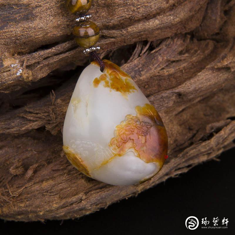 【琢艺轩】新疆和田玉枣红皮白玉籽玉挂件(独籽) 远帆 13.9克