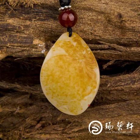新疆和田玉黃皮白玉籽玉掛件(獨籽)重生 8.5克