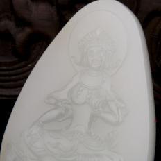 【琢艺轩】穆宇静 新疆和田玉黄皮一级白玉籽玉玉牌 度母 27.3克