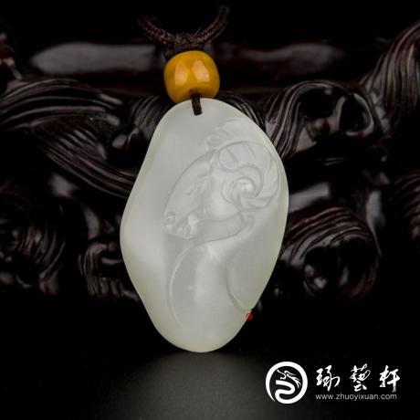 新疆和田玉白皮一級白玉籽玉掛件 十二生肖-羊 11.3克
