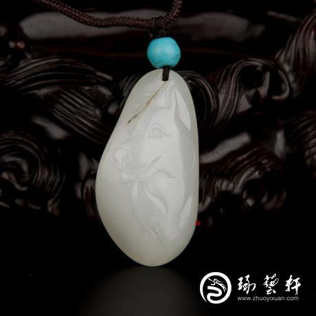 新疆和田玉黃皮一級白玉籽玉掛件 十二生肖-狗 12.3克