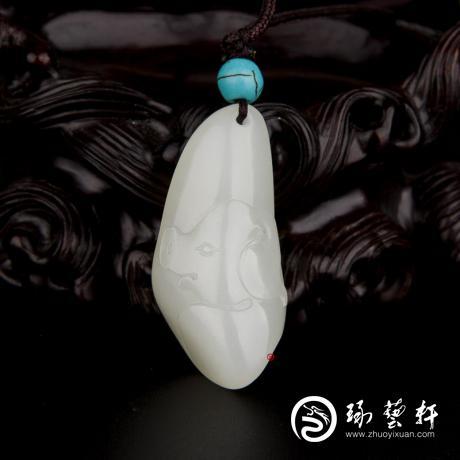 新疆和田玉白皮一級白玉籽玉掛件 十二生肖-豬 9.8克
