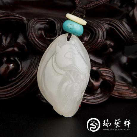 新疆和田玉白皮一級白玉籽玉掛件 十二生肖-狗 10.3克
