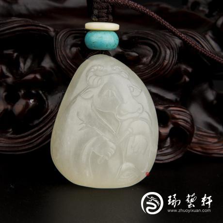 新疆和田玉白皮白玉籽玉掛件 十二生肖-牛 18.2克