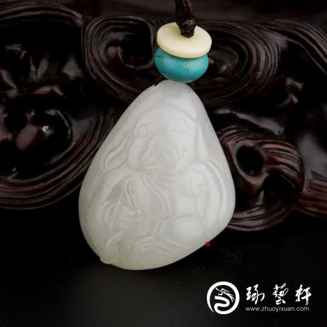 新疆和田玉白皮一级白玉籽玉挂件 十二生肖-猪 12.8克