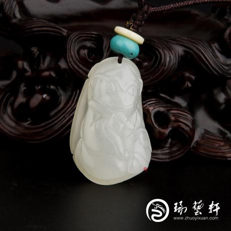 新疆和田玉白皮一级白玉籽玉挂件 十二生肖-猴 13.3克