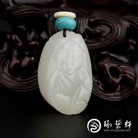 新疆和田玉白皮一級白玉籽玉掛件 十二生肖-羊 13.2克