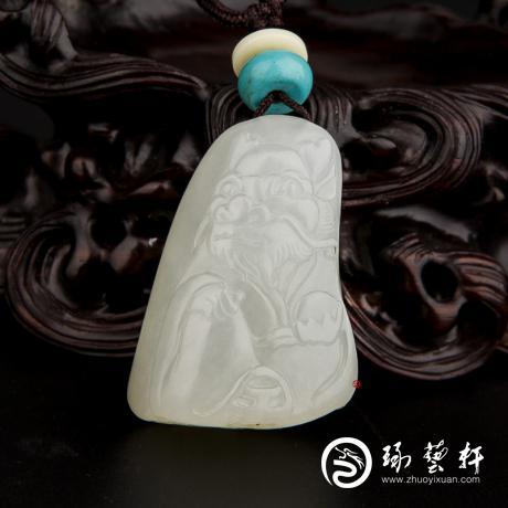 新疆和田玉白皮白玉籽玉掛件 十二生肖-龍 18.3克