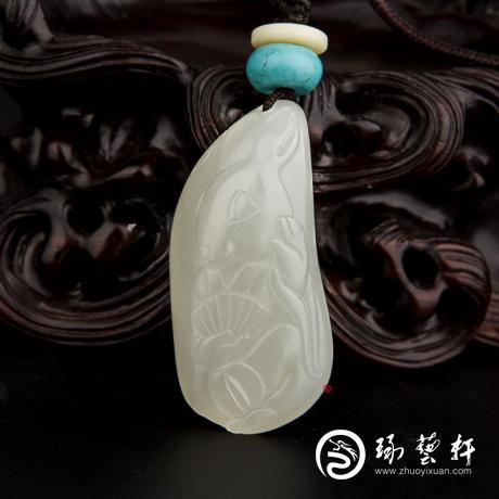 新疆和田玉白皮白玉籽玉掛件 十二生肖-兔 11.1克