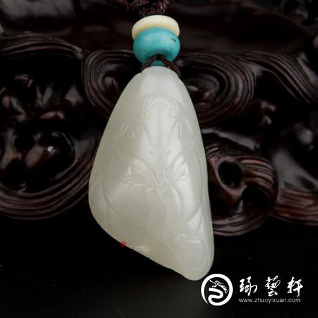 新疆和田玉白皮一级白玉籽玉挂件 十二生肖-蛇 13.9克