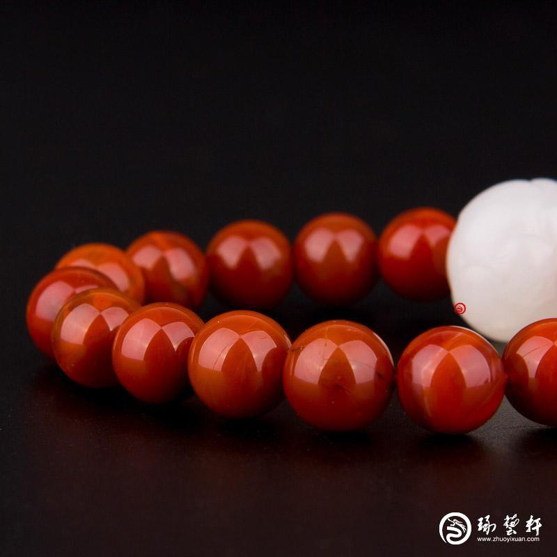 【琢艺轩】新疆和田玉黄皮一级白玉籽玉南红手串 莲花手串 32克