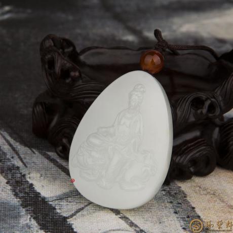 新疆和田玉白皮一级白玉籽玉挂件 文殊菩萨 30克