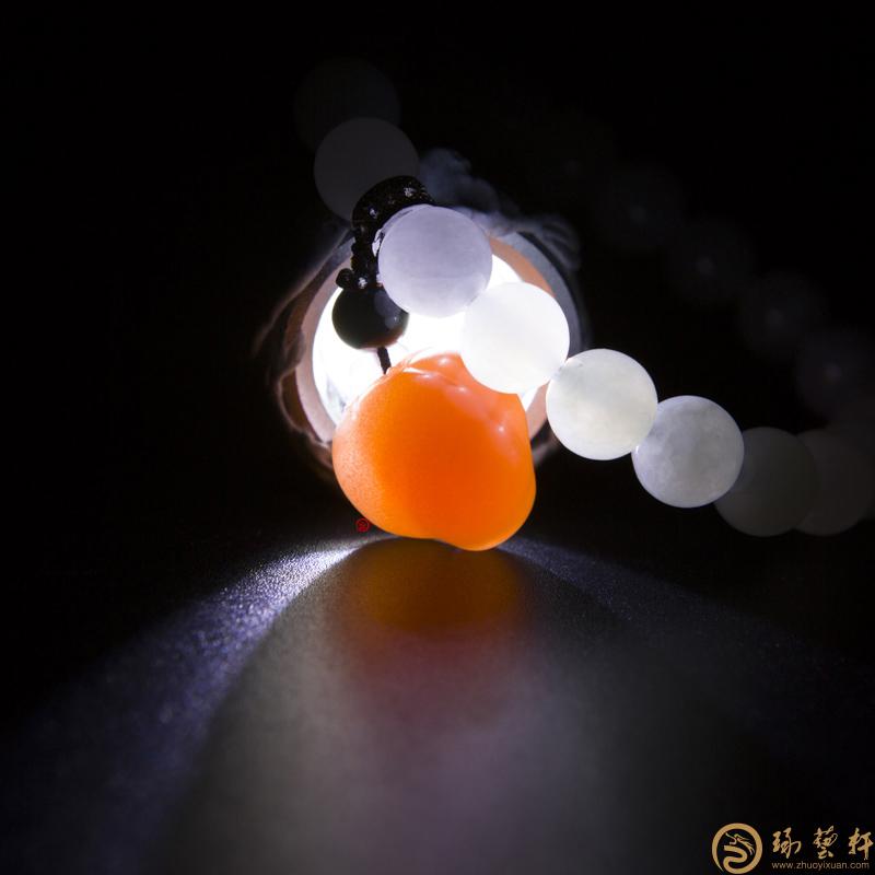 【琢艺轩】四川凉山南红玛瑙柿子红翡翠手链 红火 21.5克