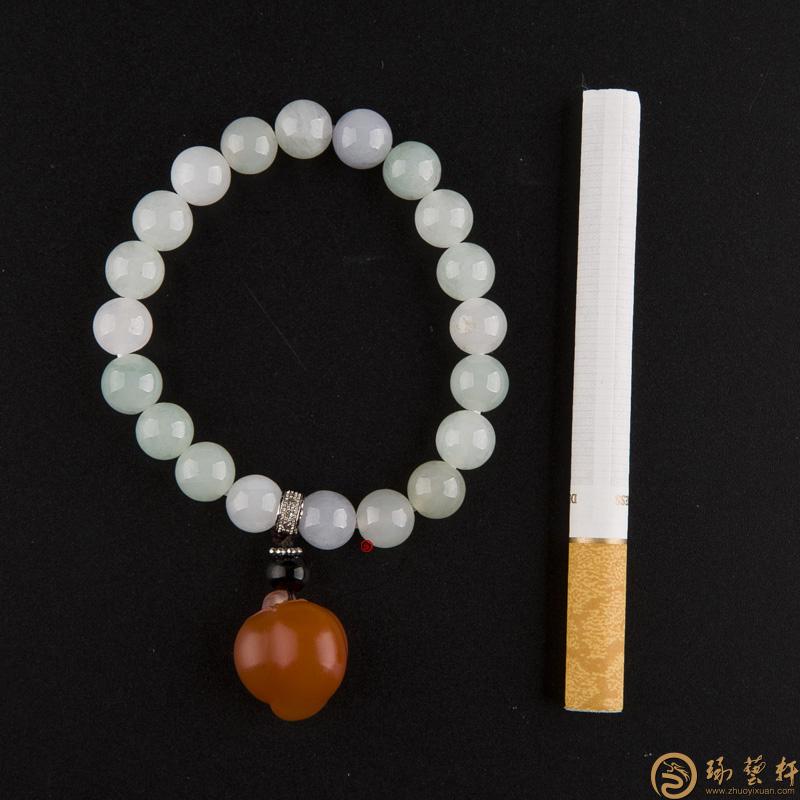 【琢藝軒】四川涼山南紅瑪瑙柿子紅翡翠手鏈 紅火 21.5克