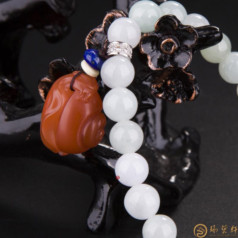 【琢艺轩】四川凉山南红玛瑙樱桃红翡翠手链 蜗牛 25.8克