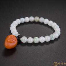 【琢艺轩】四川凉山南红玛瑙柿子红翡翠手链 灵猴 28.1克