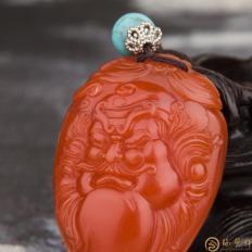 【琢艺轩】穆宇静 四川凉山南红玛瑙柿子红把件 钟馗 27克
