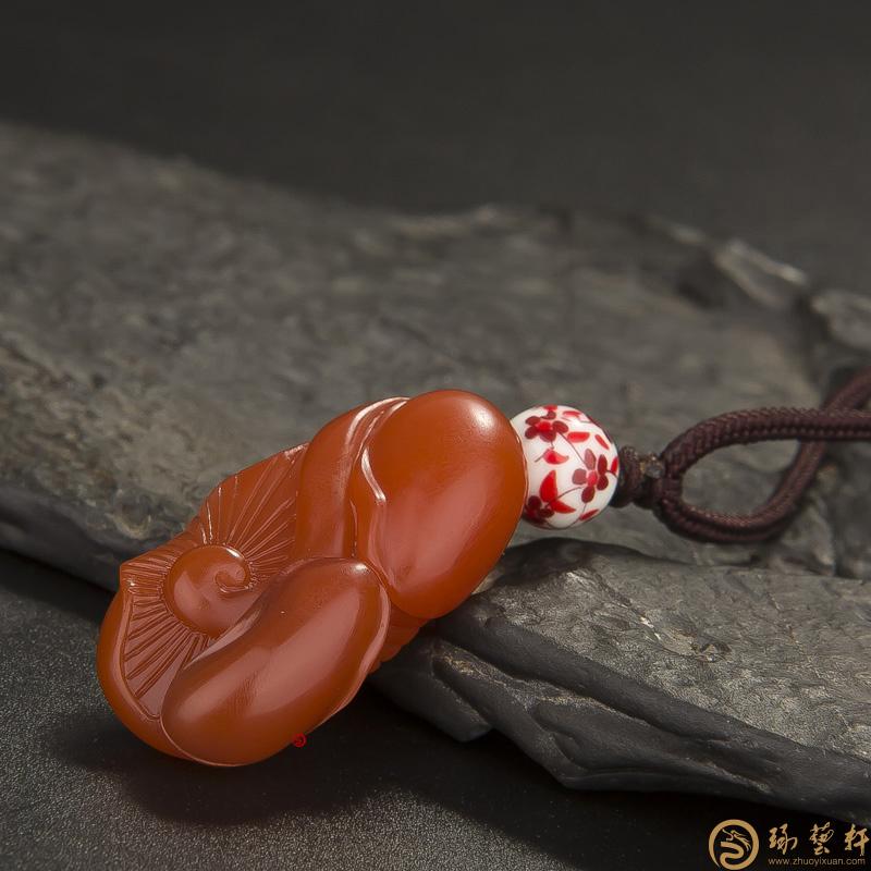 【琢艺轩】四川凉山南红玛瑙挂件   同甘苦共富贵  18克