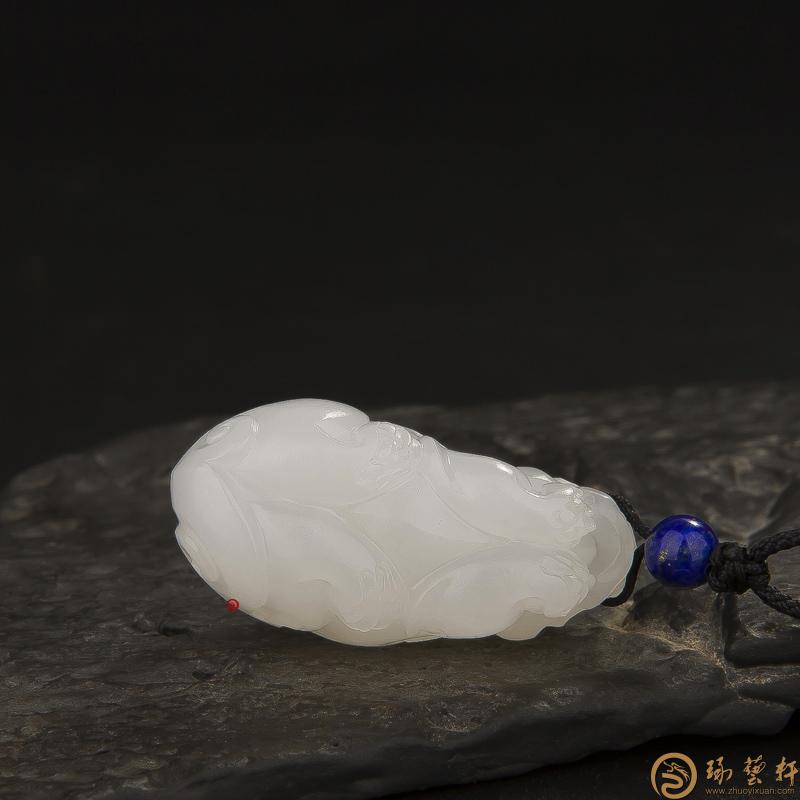 【琢藝軒】新疆和田玉羊脂白玉籽玉掛件 貔貅 22克