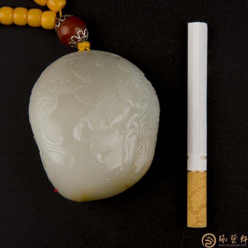 【琢艺轩】新疆和田玉黄皮白玉籽玉把件 花好月圆 163克
