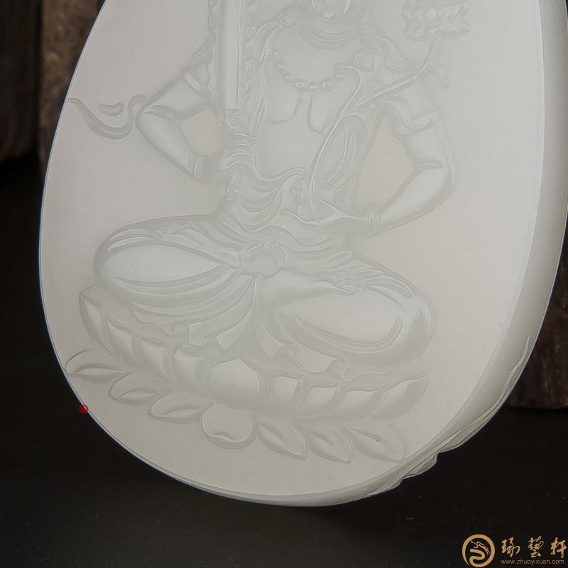 【琢艺轩】新疆和田玉白皮一级白玉籽玉把件 虚空藏 30.5克