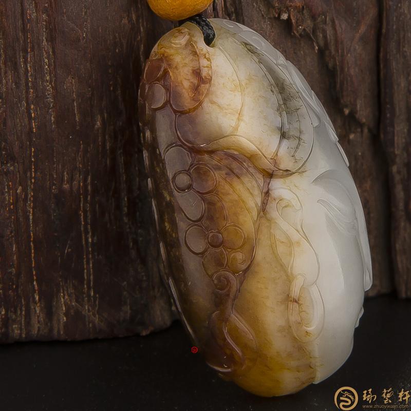 【琢艺轩】新疆和田玉红皮白玉籽玉挂件(独籽) 红妆 9.2克