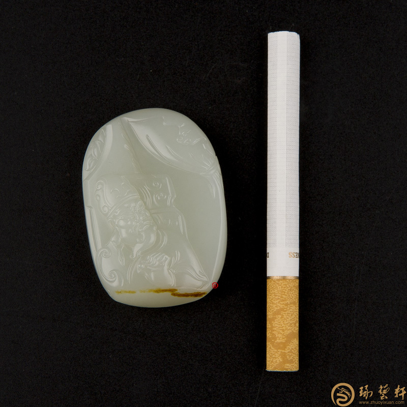 【琢艺轩】新疆和田玉红皮白玉籽玉把件 运筹帷幄 44克